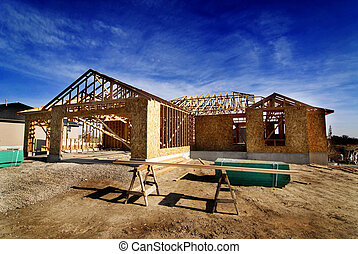 Construction of New Home - New home being built and detail...