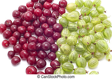 gooseberries with cherries - object on white food...