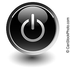 black power button icons with shadow on white
