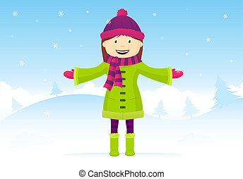 It's snowing - Happy little girl enjoying in snow.