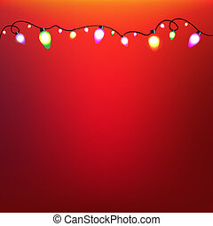 Colorful Bulb Garland With Red Background