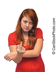Woman show middle finger