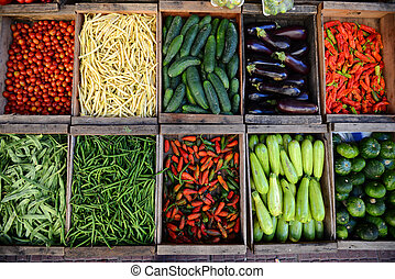 Montevideo in Uruguay - Crates of vegetables and fruit in...