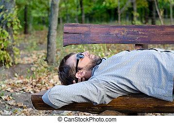 de madera, banco, hombre, sueño