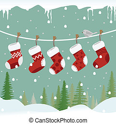 Christmas socks on the rope with bird. - Five red christmas...