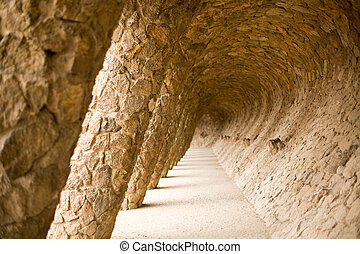 Detail of a pathway in park guell, a park designed by Antoni Gaudi, Barcelona, Spain