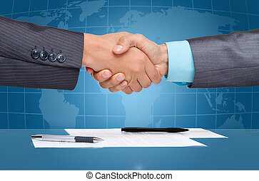 Handshake - businessmen handshake after sign up contract,...