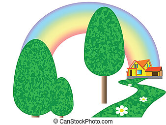 house on the lawn with rainbow isolated on white