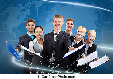 business people team - Business people team hold documents...