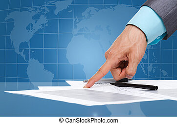 sign a contract - business man hand, in suit point finger at...