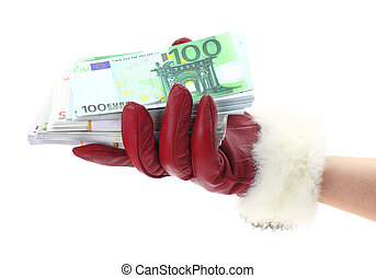 Womans hand with red glove holding gift of money