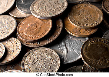 Pile of old Latin American coins