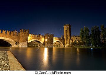 Castelvecchio by Night (1357) - Verona Italy - Castelvecchio...