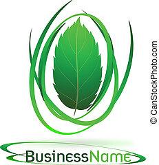 green logo with leaf