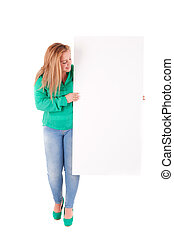 Woman - Beautiful young woman holding a blank white board