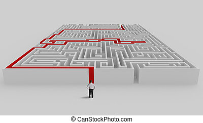 Maze and solution - Businessman in front of a maze with...