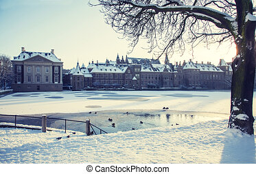 winter in the Hague - winter in historical center of the...