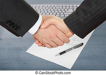 businessmens', handslag,  över, avtal, penna
