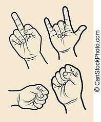 vecteur,  4, main, signes