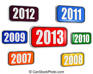 new year 2013 and previous years in colored banners - 3d...