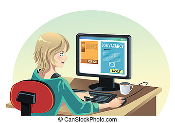 Woman searching for a job - A vector illustration of a woman...
