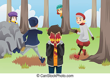 Kids playing hide and seek - A vector illustration of kids...