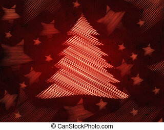 retro red background with christmas tree and stars