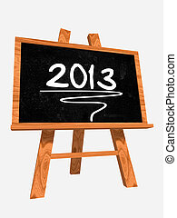 year 2013 on blackboard - 3d isolated blackboard with easel...