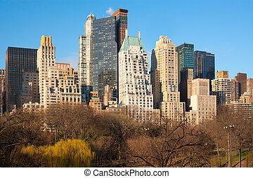 Skyline of buildings from Central Park, Midtown, Manhattan,...