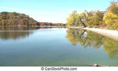 Autumn Landscape Lake Pan - Tranquil lake in the fall season...
