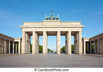 Brandenburg gate, blue sky, Berlin - Brandeburg gate, blue...