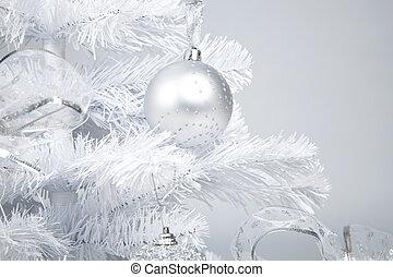christmas tree closeup - white christmas tree with silver...