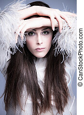 winter fashion - fashion woman portrait in elegant silver...