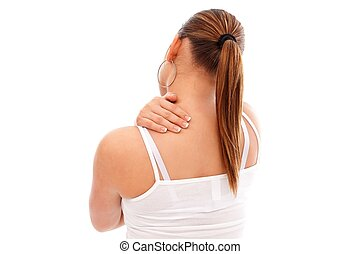 Neck pain - Young woman having pain in her neck