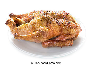 cooked duck isolated - gressingham duck cooked isolated on a...