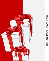 Vector white gift box with red ribbon bow