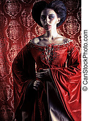 noblewoman - Portrait of a beautiful female vampire over red...