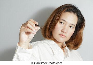 CÙte, mulher, negócio, jovem,  closeup, Retrato