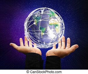 earth globe - holding a glowing earth globe in his hands