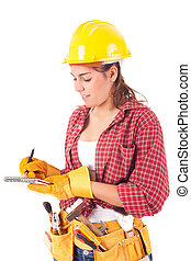 Construction worker - Sexy young woman construction worker