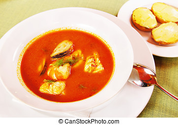 Bouillabaisse Tomato soup with seafoods