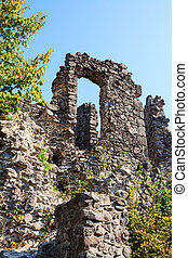 Wall of an old castle - Nevitsky Castle. The wall of an old...