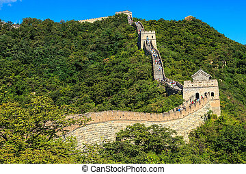 Sunny morning at the great wall in China near Beijing