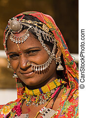 Portrait indian woman - Portrait of a India Rajasthani woman...
