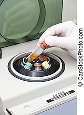 Centrifuge machine - Blood drawing tubes with blood sample,...