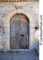 Wooden door Scalea Calabria Italy