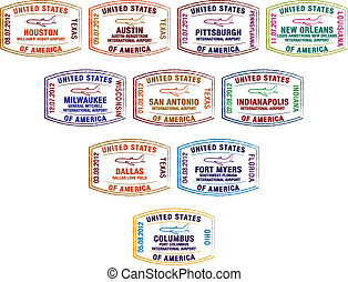Passport Stamps - Passport stamps of major US airports in...