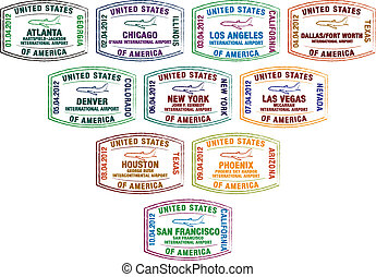 Passport Stamps - Top ten busiest US airport passport stamps...
