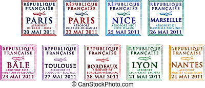 Passport Stamps - Passport stamps from France in vector...