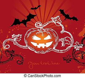 Halloween illustration with pumpkin